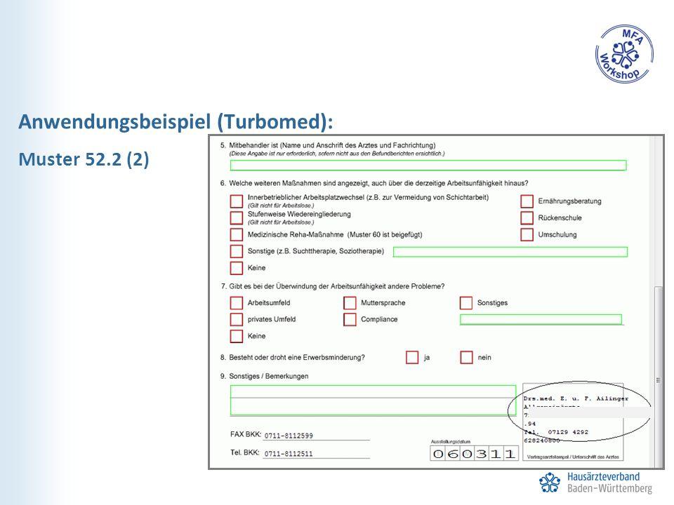 Anwendungsbeispiel (Turbomed): Muster 52.2 (2)