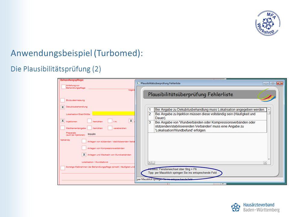 Anwendungsbeispiel (Turbomed): Die Plausibilitätsprüfung (2)