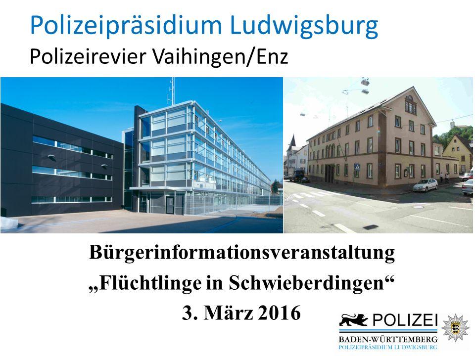 """Polizeipräsidium Ludwigsburg Polizeirevier Vaihingen/Enz Bürgerinformationsveranstaltung """"Flüchtlinge in Schwieberdingen"""" 3. März 2016"""