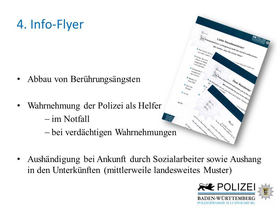 4. Info-Flyer Abbau von Berührungsängsten Wahrnehmung der Polizei als Helfer  im Notfall  bei verdächtigen Wahrnehmungen Aushändigung bei Ankunft du