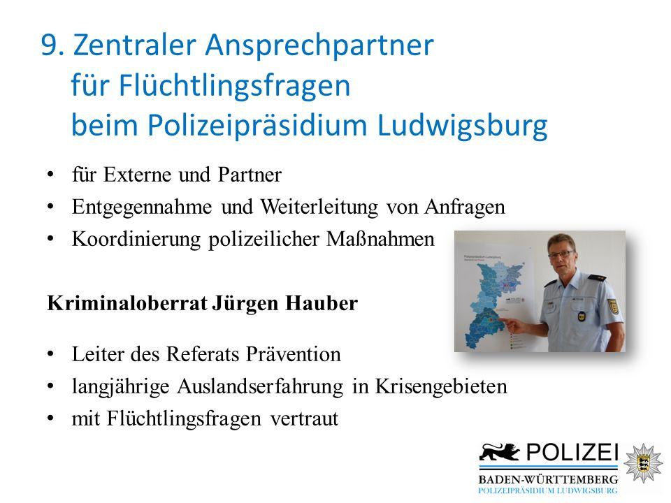 9. Zentraler Ansprechpartner für Flüchtlingsfragen beim Polizeipräsidium Ludwigsburg für Externe und Partner Entgegennahme und Weiterleitung von Anfra