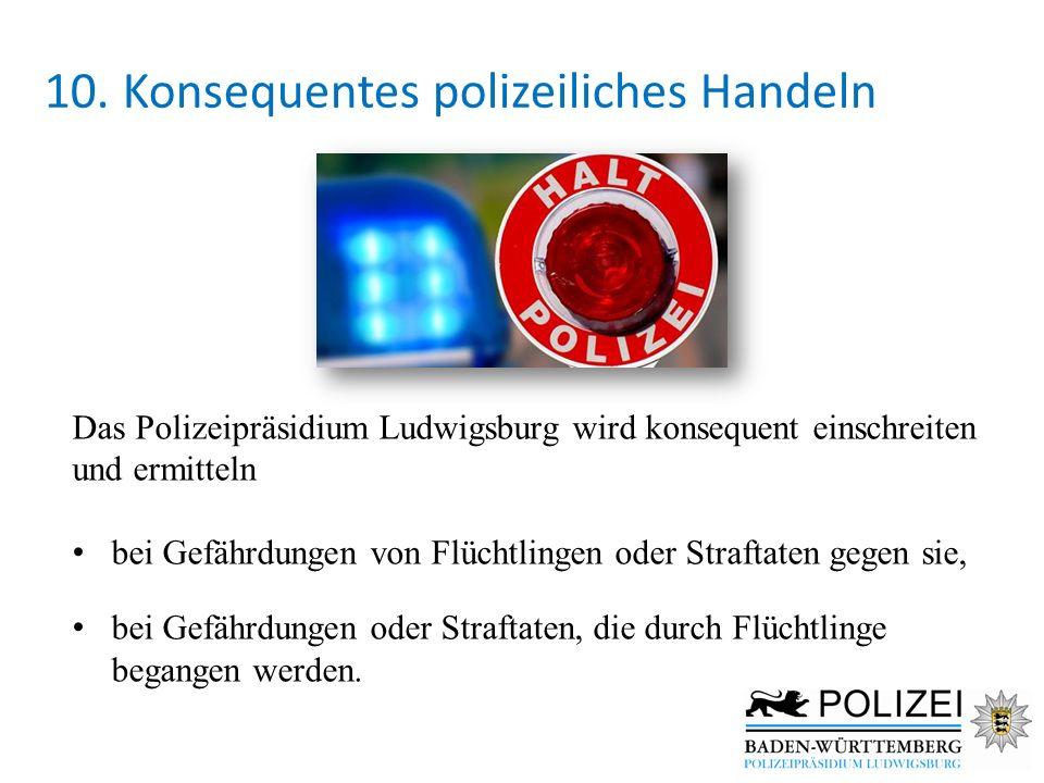 10. Konsequentes polizeiliches Handeln Das Polizeipräsidium Ludwigsburg wird konsequent einschreiten und ermitteln bei Gefährdungen von Flüchtlingen o