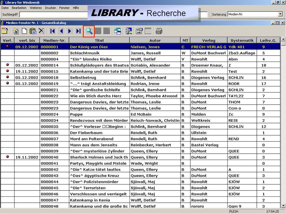 LIBRARY - Recherche
