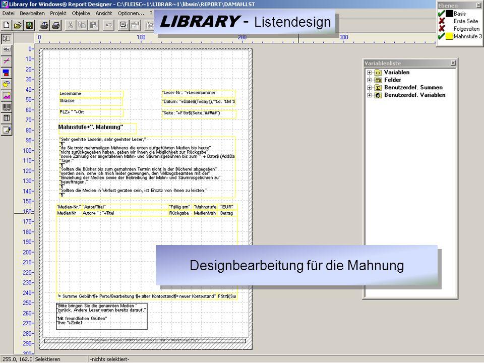 LIBRARY - Listendesign Designbearbeitung für die Mahnung