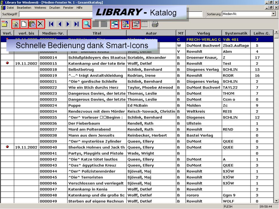 Schnelle Bedienung dank Smart-Icons LIBRARY - Katalog