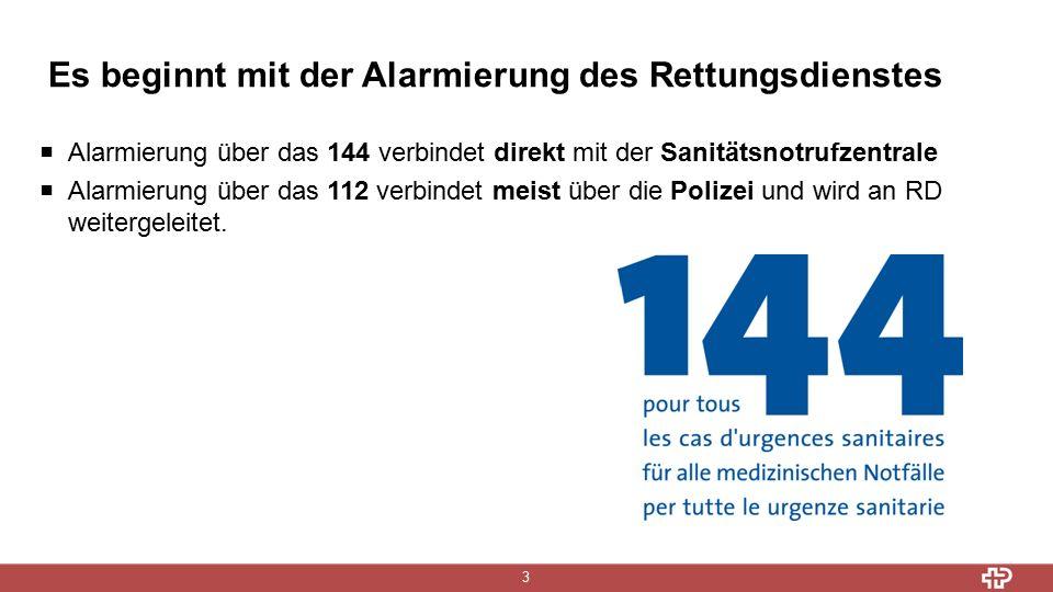 Es beginnt mit der Alarmierung des Rettungsdienstes 3  Alarmierung über das 144 verbindet direkt mit der Sanitätsnotrufzentrale  Alarmierung über das 112 verbindet meist über die Polizei und wird an RD weitergeleitet.