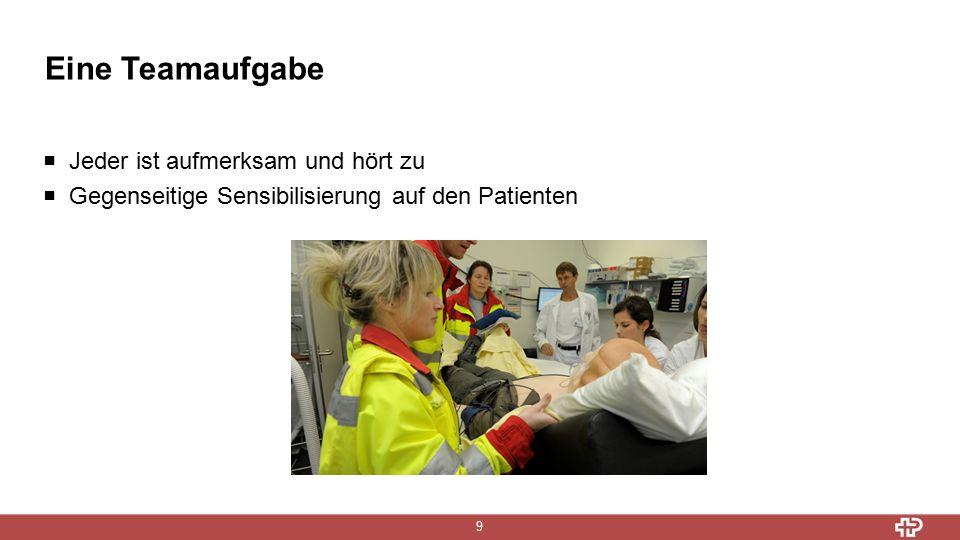 Eine Teamaufgabe 9  Jeder ist aufmerksam und hört zu  Gegenseitige Sensibilisierung auf den Patienten