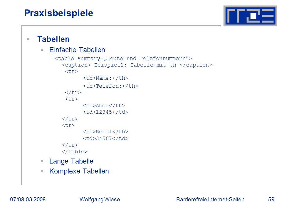 Barrierefreie Internet-Seiten07/08.03.2008Wolfgang Wiese59 Praxisbeispiele  Tabellen  Einfache Tabellen Beispiel1: Tabelle mit th Name: Telefon: Abe