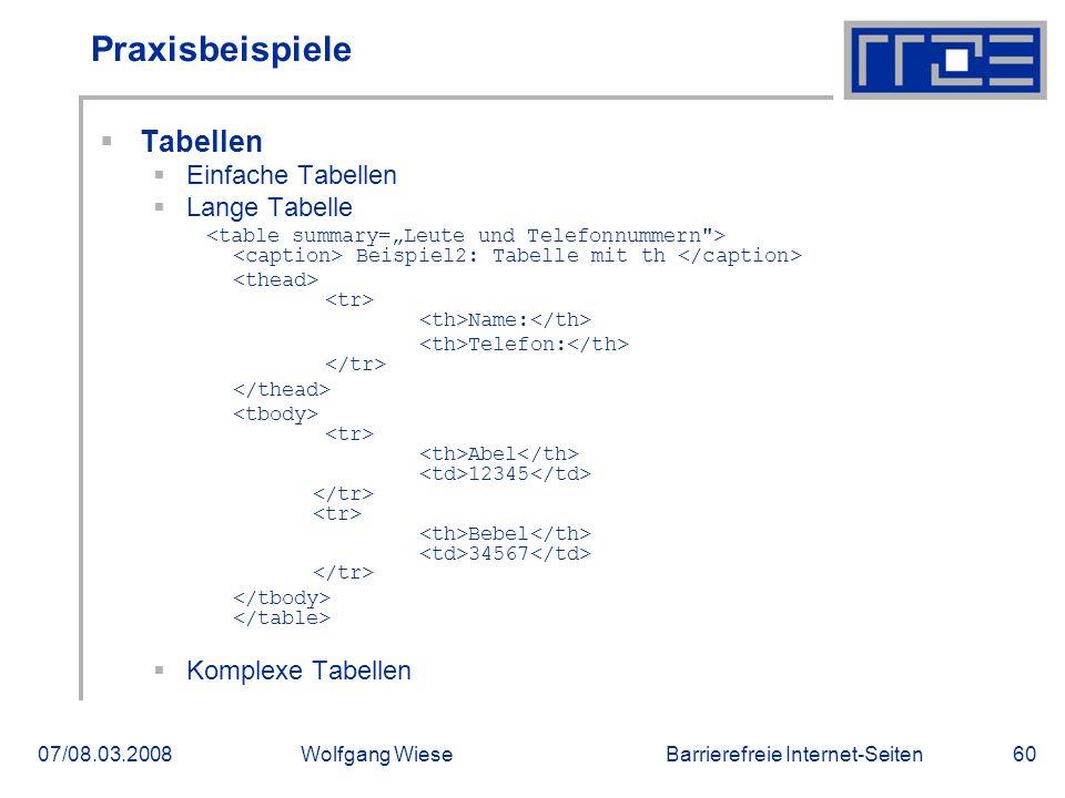 Barrierefreie Internet-Seiten07/08.03.2008Wolfgang Wiese60 Praxisbeispiele  Tabellen  Einfache Tabellen  Lange Tabelle Beispiel2: Tabelle mit th Na