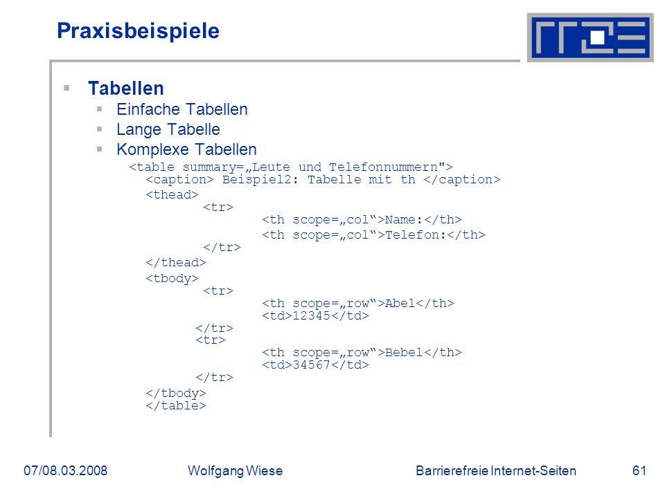 Barrierefreie Internet-Seiten07/08.03.2008Wolfgang Wiese61 Praxisbeispiele  Tabellen  Einfache Tabellen  Lange Tabelle  Komplexe Tabellen Beispiel2: Tabelle mit th Name: Telefon: Abel 12345 Bebel 34567