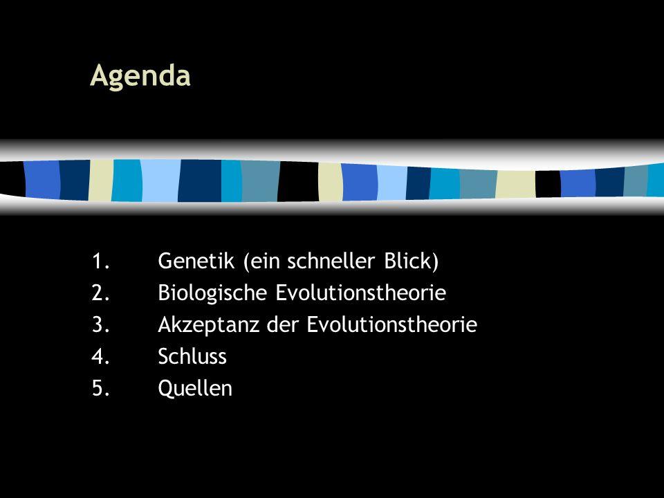 5 Agenda 1.Genetik (ein schneller Blick) 2.Biologische Evolutionstheorie 3.Akzeptanz der Evolutionstheorie 4.Schluss 5.Quellen