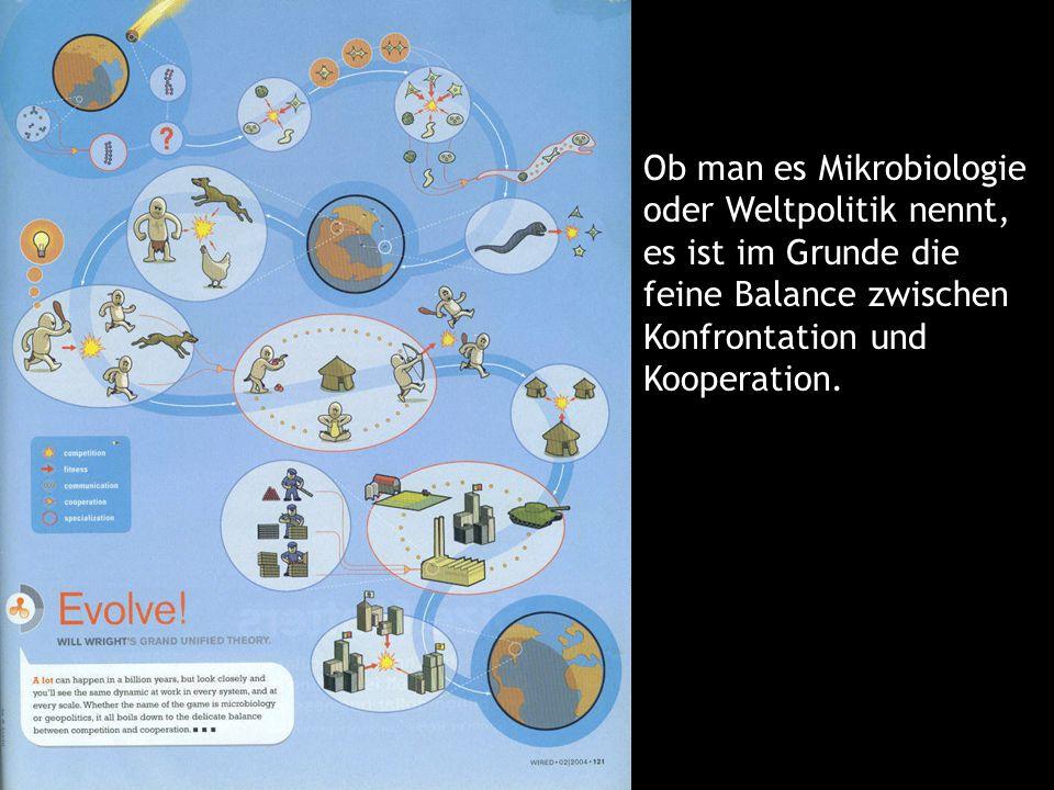 75 Ob man es Mikrobiologie oder Weltpolitik nennt, es ist im Grunde die feine Balance zwischen Konfrontation und Kooperation.