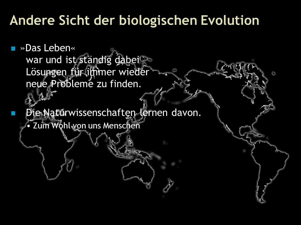 83 Andere Sicht der biologischen Evolution »Das Leben« war und ist ständig dabei Lösungen für immer wieder neue Probleme zu finden.