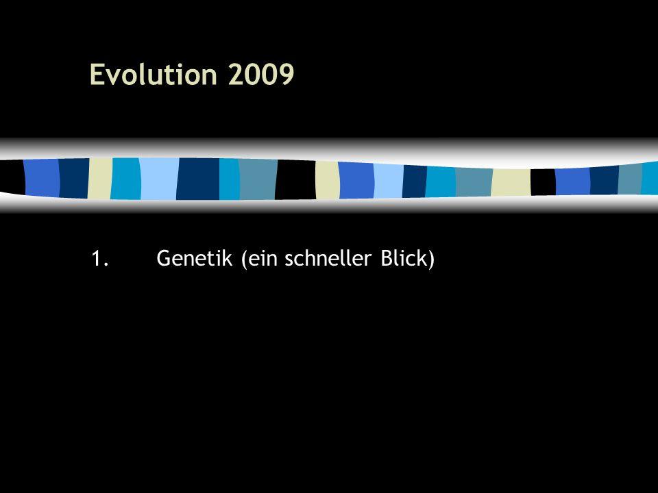 9 Evolution 2009 1.Genetik (ein schneller Blick)