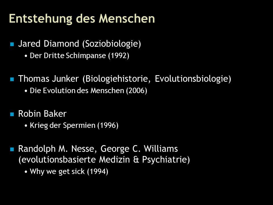 90 Entstehung des Menschen Jared Diamond (Soziobiologie) Der Dritte Schimpanse (1992) Thomas Junker (Biologiehistorie, Evolutionsbiologie) Die Evolution des Menschen (2006) Robin Baker Krieg der Spermien (1996) Randolph M.