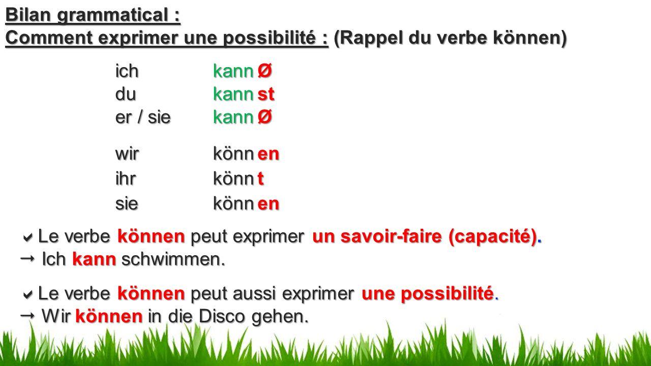 er / sie kann wir könn Bilan grammatical : Comment exprimer une possibilité : (Rappel du verbe können) du kann ich kann ihr könn sie könn  Le verbe können peut exprimer un savoir-faire (capacité).