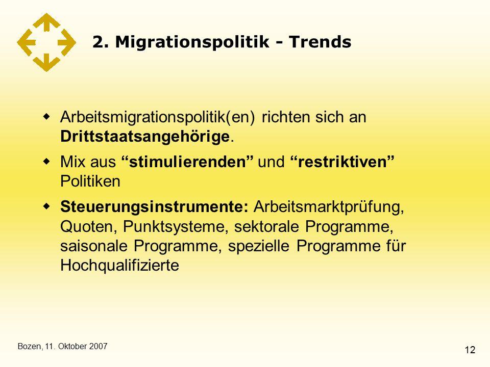 """Bozen, 11. Oktober 2007 12 2. Migrationspolitik - Trends  Arbeitsmigrationspolitik(en) richten sich an Drittstaatsangehörige.  Mix aus """"stimulierend"""