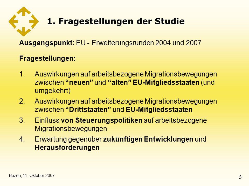 Bozen, 11. Oktober 2007 3 1. Fragestellungen der Studie Ausgangspunkt: EU - Erweiterungsrunden 2004 und 2007 Fragestellungen: 1.Auswirkungen auf arbei