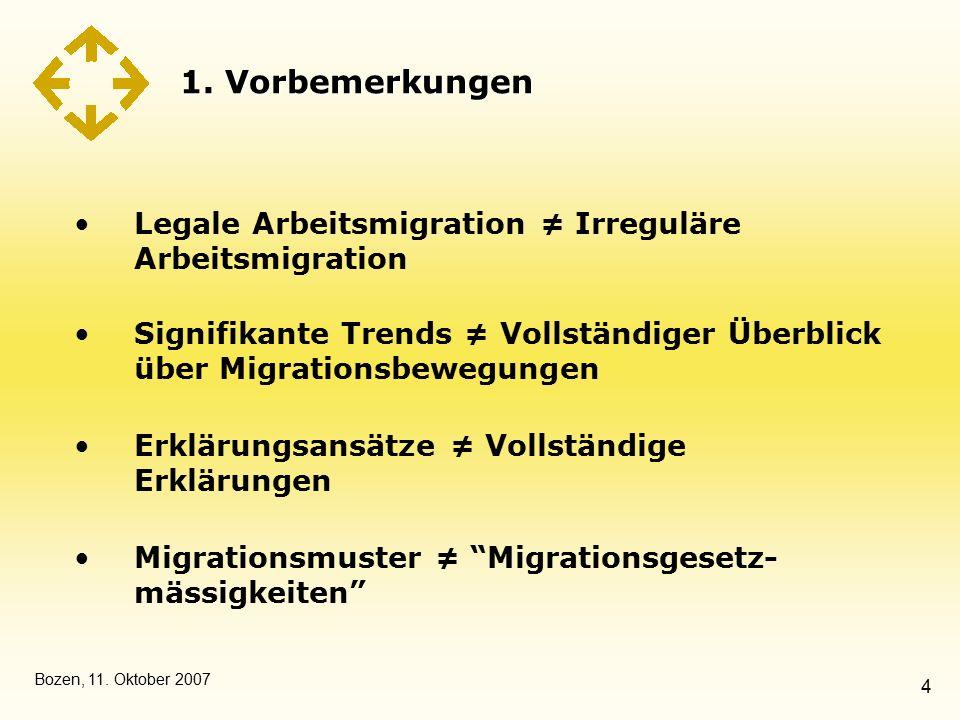 Bozen, 11. Oktober 2007 4 1. Vorbemerkungen Legale Arbeitsmigration ≠ Irreguläre Arbeitsmigration Signifikante Trends ≠ Vollständiger Überblick über M