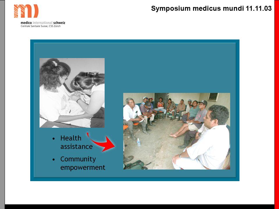 Symposium medicus mundi 11.11.03 Gemeindeorganisation Für den kommunitären Ansatz ist die möglichst breite Partizipation im Gesundheitsförderungssystem wichtigste Voraussetzung.