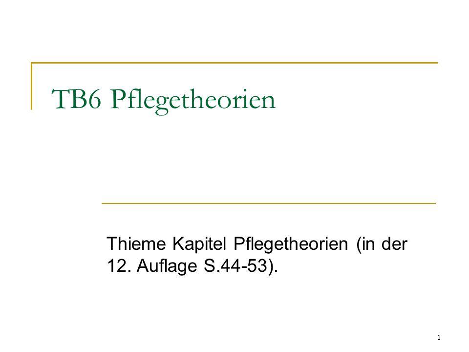1 TB6 Pflegetheorien Thieme Kapitel Pflegetheorien (in der 12. Auflage S.44-53).