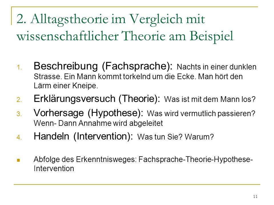 11 2.Alltagstheorie im Vergleich mit wissenschaftlicher Theorie am Beispiel 1.