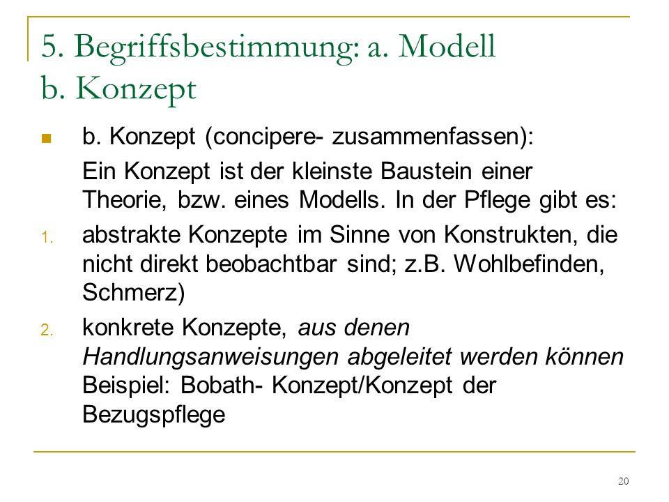 20 5.Begriffsbestimmung: a. Modell b. Konzept b.