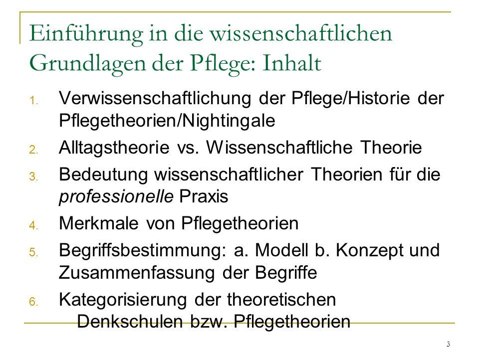 """14 3.Bedeutung wissenschaftlicher Theorien für die professionelle Praxis: Professionelles Handeln durch Theorien Eine Theorie ist eine """"…kreative und präzise Strukturierung von Ideen, die eine vorläufige, zielgerichtete und systematische Betrachtungsweise von Phänomenen ermöglicht (Chinn& Kramer 1996)."""