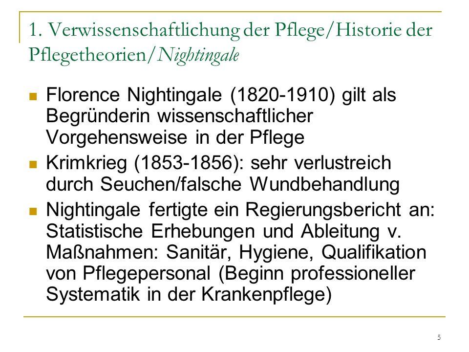 5 1. Verwissenschaftlichung der Pflege/Historie der Pflegetheorien/Nightingale Florence Nightingale (1820-1910) gilt als Begründerin wissenschaftliche