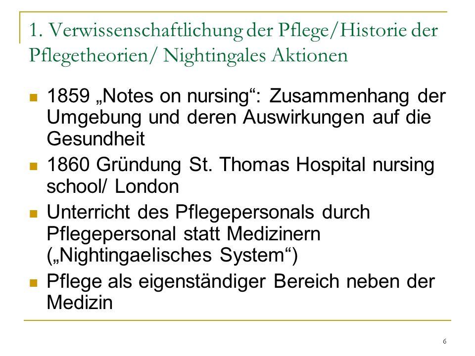 """6 1. Verwissenschaftlichung der Pflege/Historie der Pflegetheorien/ Nightingales Aktionen 1859 """"Notes on nursing"""": Zusammenhang der Umgebung und deren"""