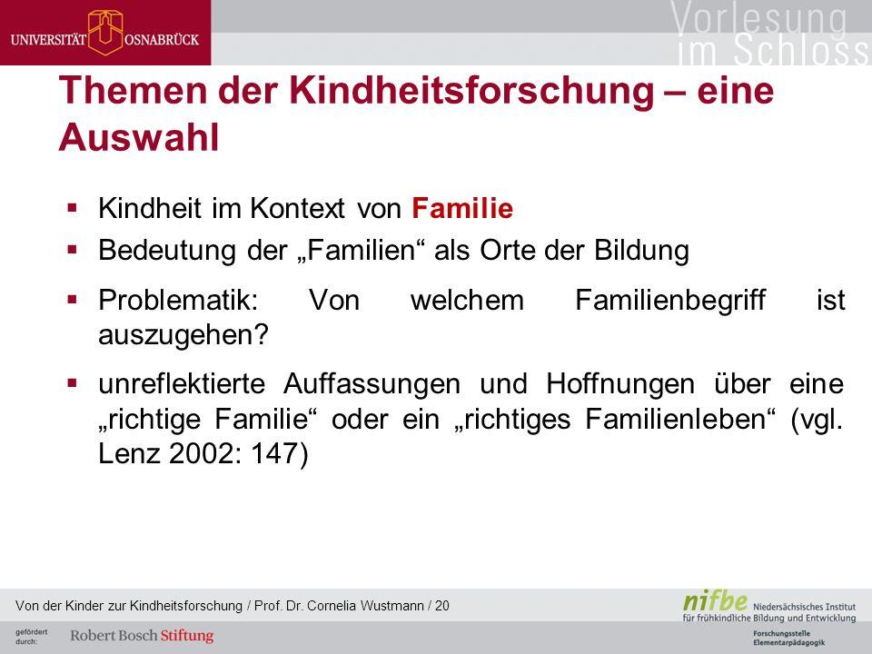 """Themen der Kindheitsforschung – eine Auswahl  Kindheit im Kontext von Familie  Bedeutung der """"Familien als Orte der Bildung  Problematik: Von welchem Familienbegriff ist auszugehen."""