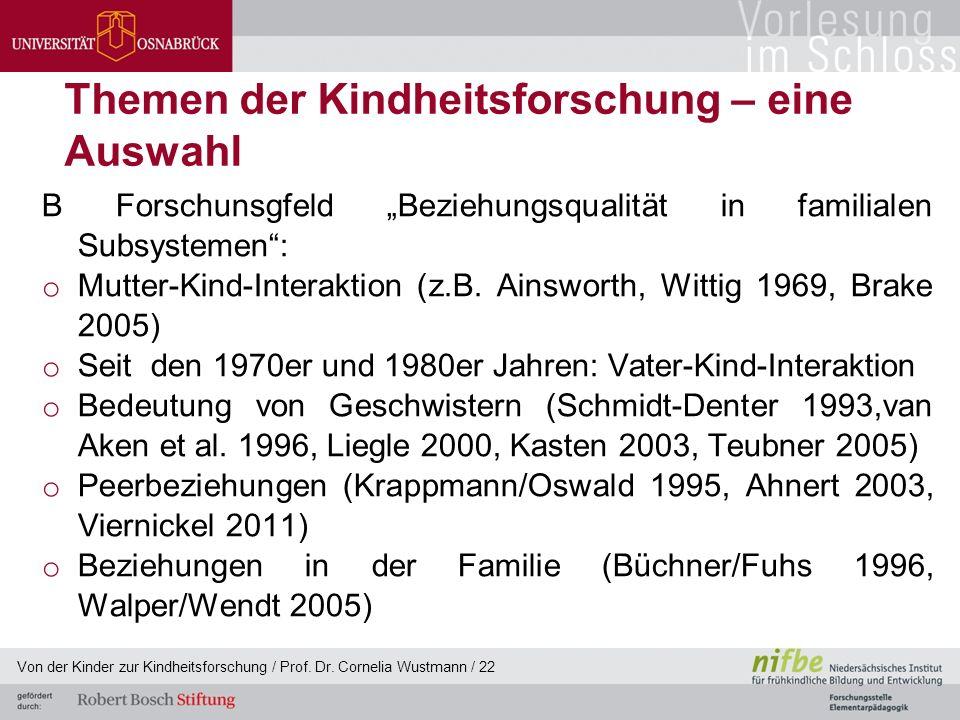"""Themen der Kindheitsforschung – eine Auswahl B Forschunsgfeld """"Beziehungsqualität in familialen Subsystemen : o Mutter-Kind-Interaktion (z.B."""