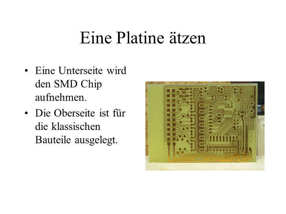 Eine Platine ätzen Eine Unterseite wird den SMD Chip aufnehmen.