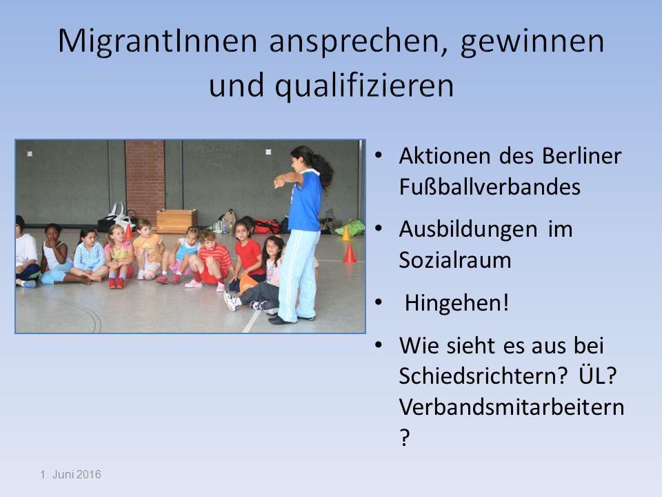 Aktionen des Berliner Fußballverbandes Ausbildungen im Sozialraum Hingehen.