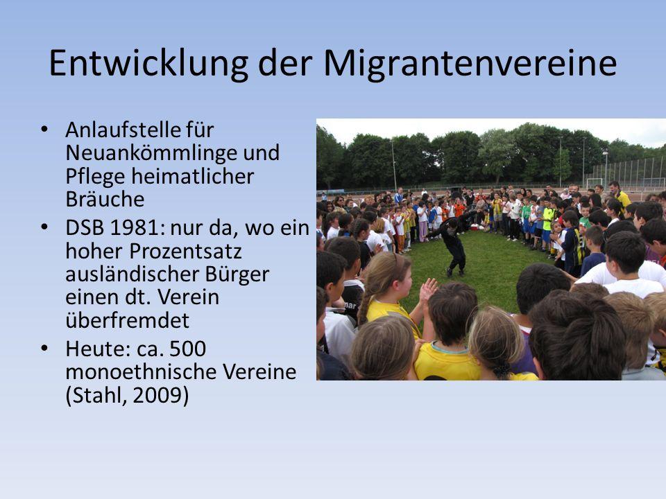 Entwicklung der Migrantenvereine Anlaufstelle für Neuankömmlinge und Pflege heimatlicher Bräuche DSB 1981: nur da, wo ein hoher Prozentsatz ausländischer Bürger einen dt.