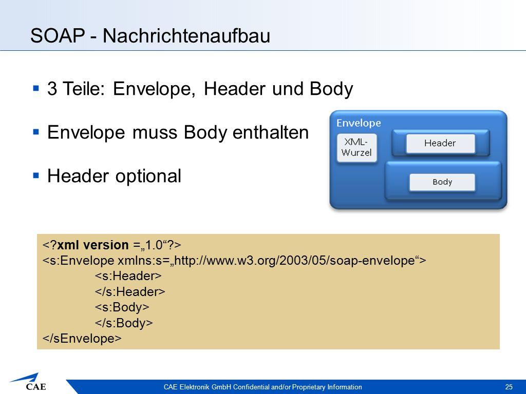 CAE Elektronik GmbH Confidential and/or Proprietary Information SOAP - Nachrichtenaufbau  3 Teile: Envelope, Header und Body  Envelope muss Body enthalten  Header optional 25