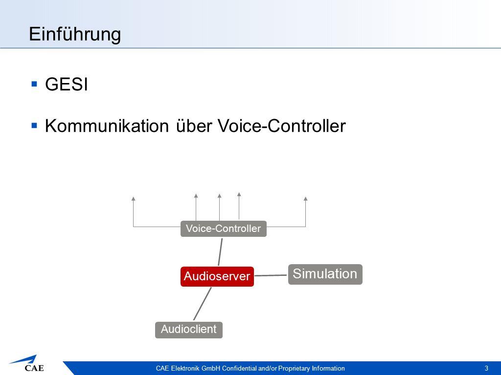 CAE Elektronik GmbH Confidential and/or Proprietary Information Einführung 4 Audioserver Voice-Controller Simulation Audioclient  Audioserver speichert Zuordnung von Simulationszeit und Gesprächszeit  Momentaner Stand: eigenes Protokoll  Ziel: Dynamische Anbindung