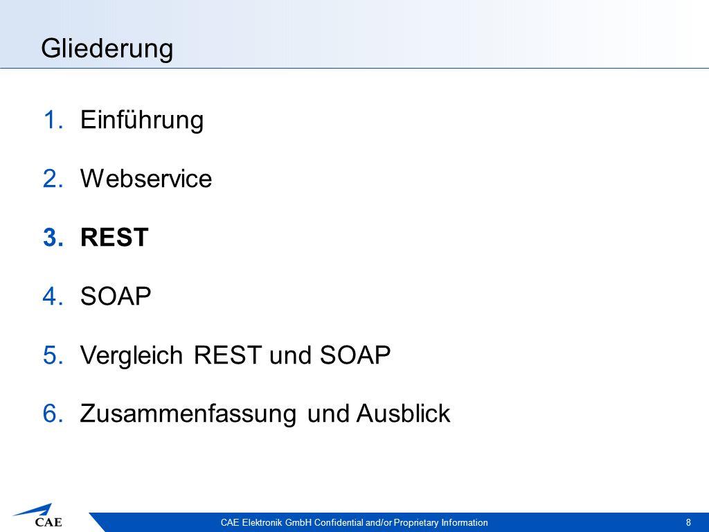 CAE Elektronik GmbH Confidential and/or Proprietary Information Gliederung 1.Einführung 2.Webservice 3.REST 4.SOAP 5.Vergleich REST und SOAP 6.Zusammenfassung und Ausblick 8