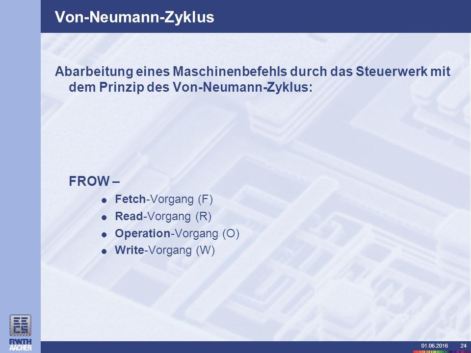 01.06.201624 Von-Neumann-Zyklus Abarbeitung eines Maschinenbefehls durch das Steuerwerk mit dem Prinzip des Von-Neumann-Zyklus: FROW –  Fetch-Vorgang (F)  Read-Vorgang (R)  Operation-Vorgang (O)  Write-Vorgang (W)