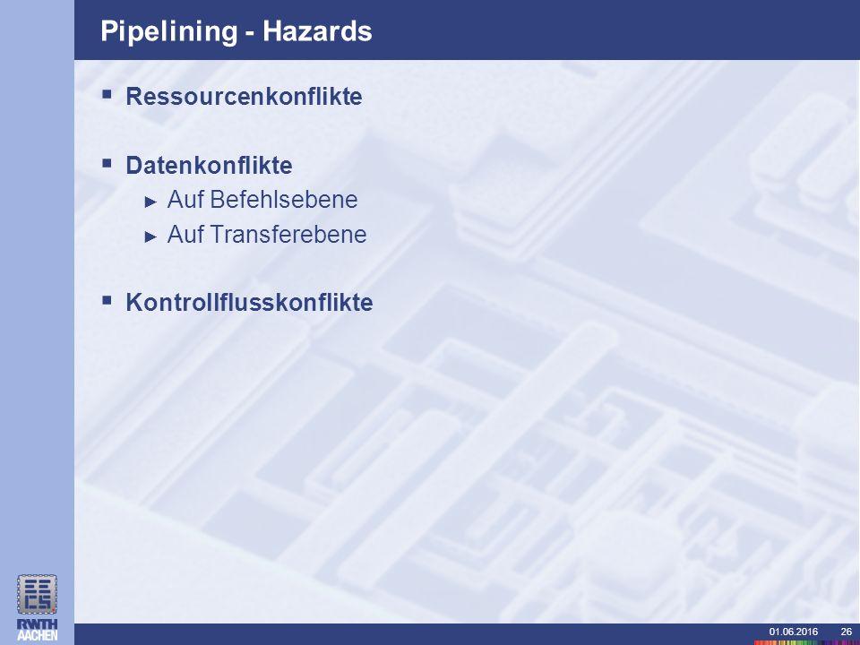01.06.201626 Pipelining - Hazards  Ressourcenkonflikte  Datenkonflikte ► Auf Befehlsebene ► Auf Transferebene  Kontrollflusskonflikte