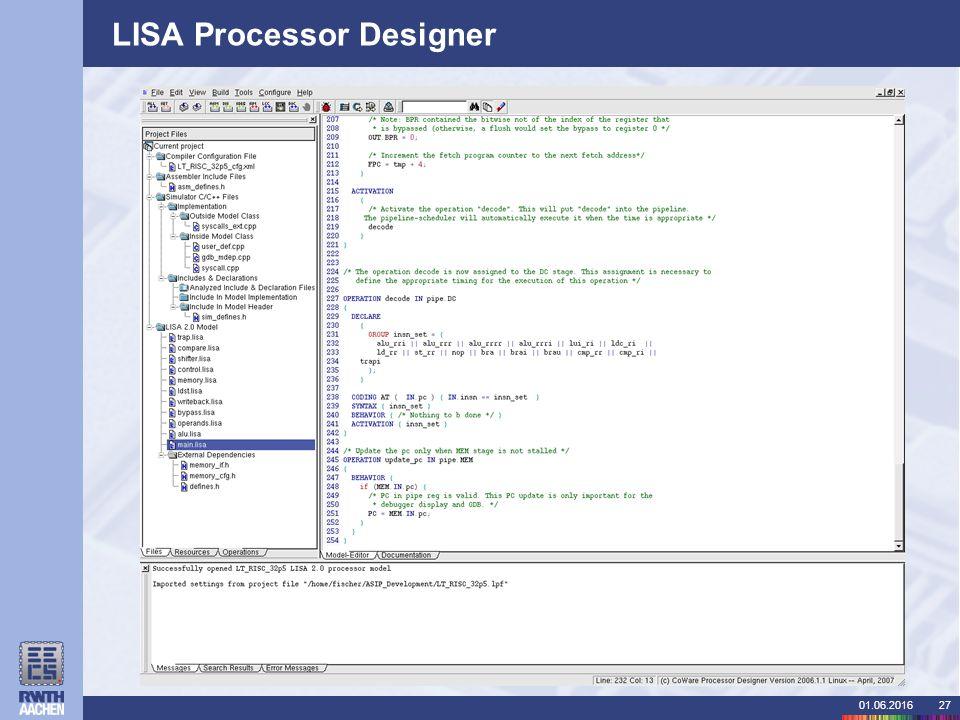 01.06.201627 LISA Processor Designer