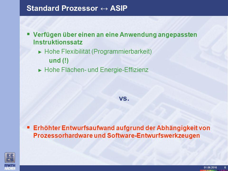 01.06.20166 Standard Prozessor ↔ ASIP  Verfügen über einen an eine Anwendung angepassten Instruktionssatz ► Hohe Flexibilität (Programmierbarkeit) und (!) ► Hohe Flächen- und Energie-Effizienz vs.