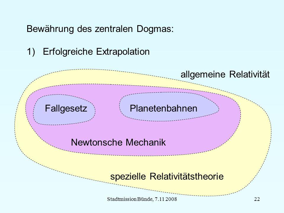Stadtmission Bünde, 7.11 200822 Bewährung des zentralen Dogmas: 1) Erfolgreiche Extrapolation allgemeine Relativität Fallgesetz Planetenbahnen Newtons