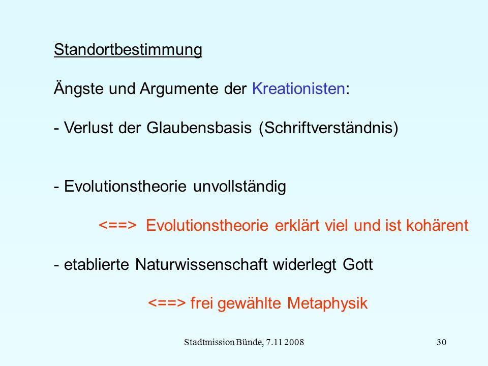 Stadtmission Bünde, 7.11 200830 Standortbestimmung Ängste und Argumente der Kreationisten: - Verlust der Glaubensbasis (Schriftverständnis) - Evolutio