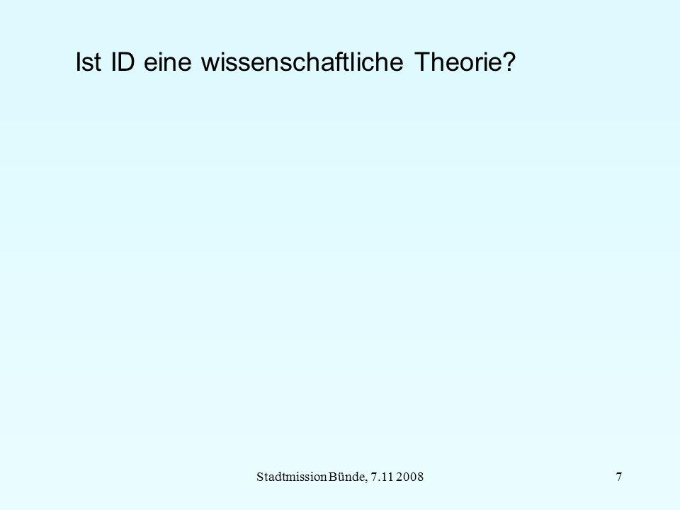 Stadtmission Bünde, 7.11 20087 Ist ID eine wissenschaftliche Theorie?