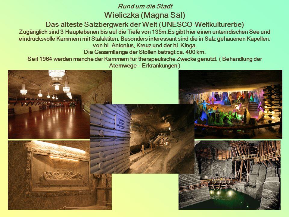 Rund um die Stadt Wieliczka (Magna Sal) Das älteste Salzbergwerk der Welt (UNESCO-Weltkulturerbe) Zugänglich sind 3 Hauptebenen bis auf die Tiefe von 135m.Es gibt hier einen unterirdischen See und eindrucksvolle Kammern mit Stalaktiten.