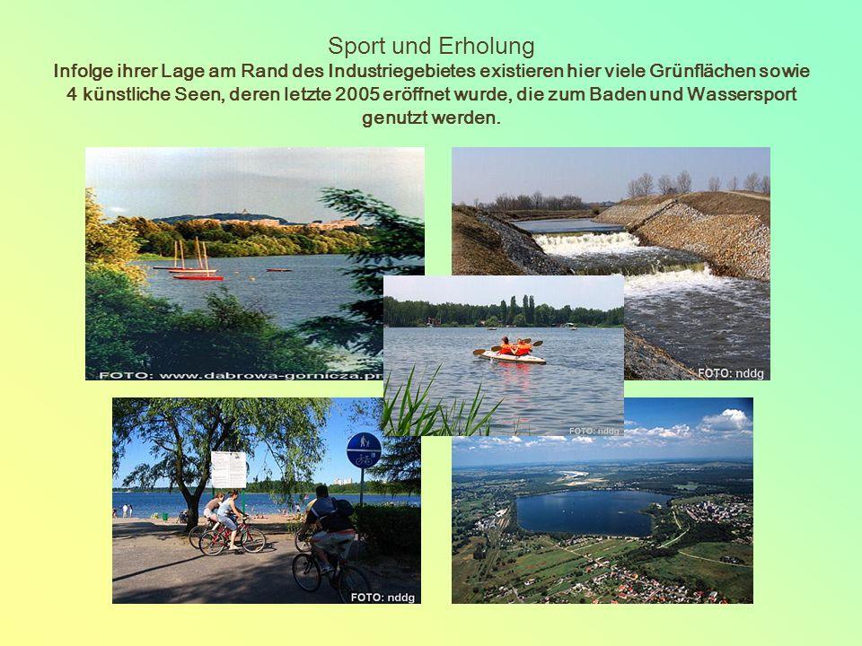 Sport und Erholung Infolge ihrer Lage am Rand des Industriegebietes existieren hier viele Grünflächen sowie 4 künstliche Seen, deren letzte 2005 eröffnet wurde, die zum Baden und Wassersport genutzt werden.