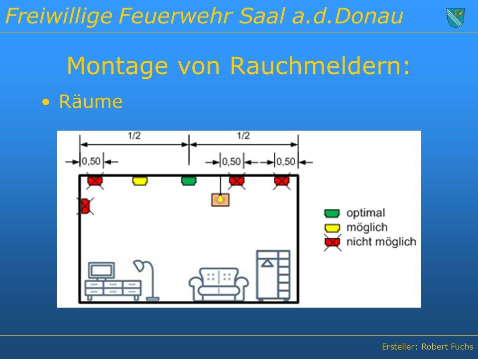 Freiwillige Feuerwehr Saal a.d.Donau Ersteller: Robert Fuchs Montage von Rauchmeldern: Räume