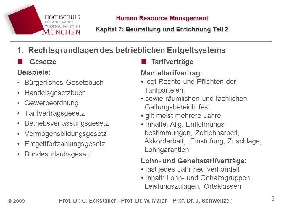 Human Resource Management Kapitel 7: Beurteilung und Entlohnung Teil 2 © 2009 Prof. Dr. C. Eckstaller – Prof. Dr. W. Maier – Prof. Dr. J. Schweitzer 3