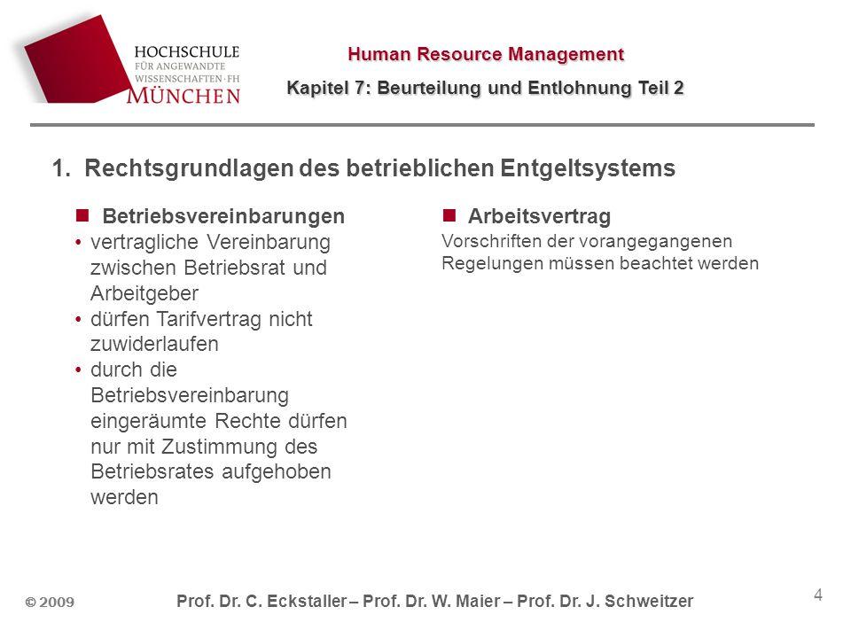 Human Resource Management Kapitel 7: Beurteilung und Entlohnung Teil 2 © 2009 Prof. Dr. C. Eckstaller – Prof. Dr. W. Maier – Prof. Dr. J. Schweitzer 4